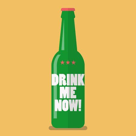 drink me: Beer bottle drink me now. Flat style vector illustration Illustration