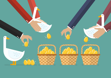 Allocating golden eggs into more than one basket. Business diversification concept Illustration