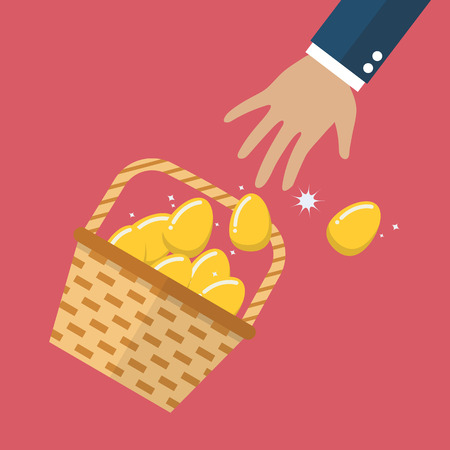 golden egg: Golden eggs in basket slipped out of the hand. Vector illustration