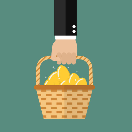 Hand holding wicker basket with golden eggs. Vector illustration Illustration