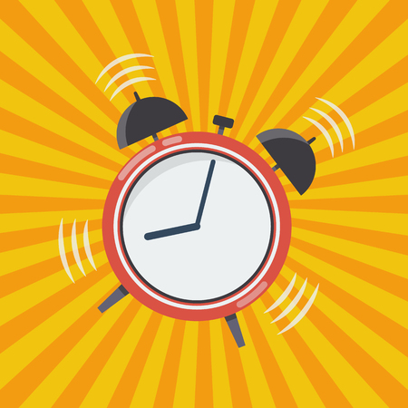 up time: Wake up time. Alarm clock vector illustration