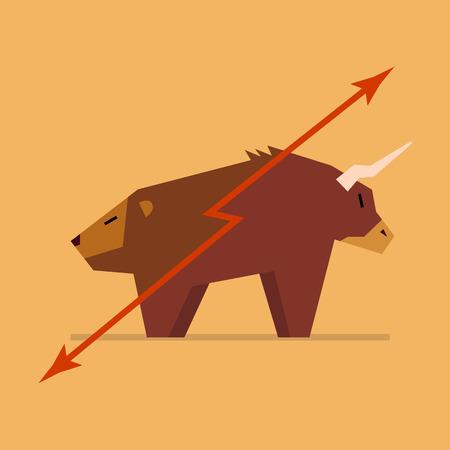 advancement: Bull and bear symbol of stock market. vector illustration Illustration