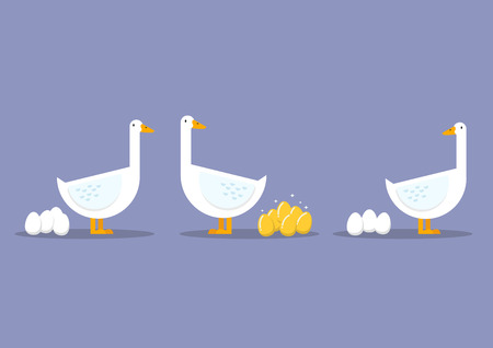 golden egg: Special goose different through a group of ordinary goose. Business concept Illustration