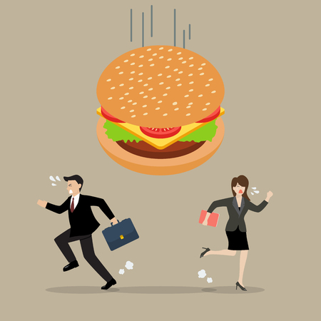 Business people run away from hamburger crisis. Business concept