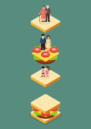 poblacion: Generación sándwich. ilustración vectorial