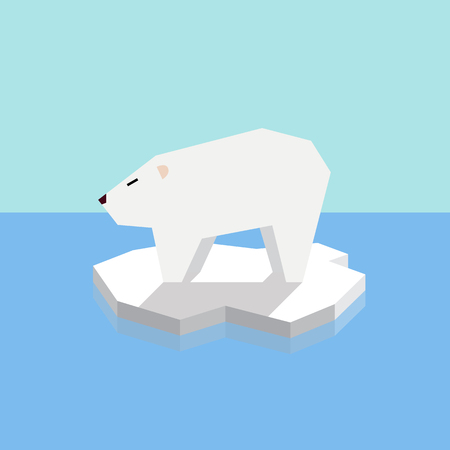 threatened: Polar bear on an ice floe. vector illustration