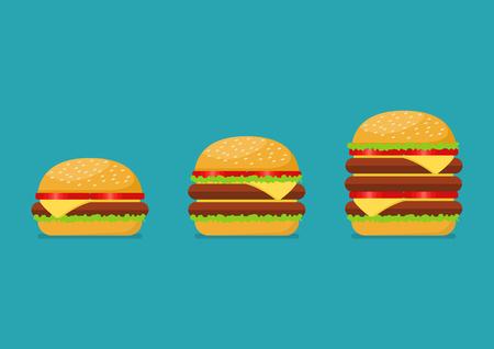 Tres hamburguesas establecen. Desde la simple hamburguesa con queso doble y triple con tomate Ilustración de vector