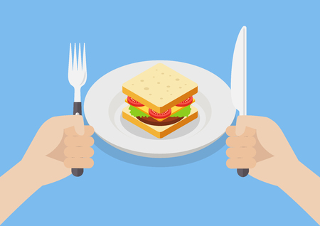 impatient: Knife and fork cutlery in hands with sandwich. Vector illustration Illustration