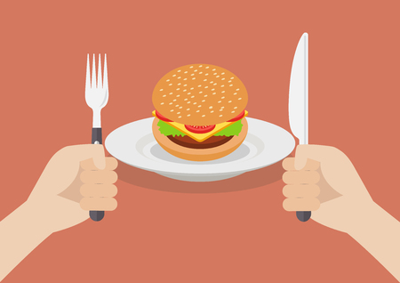 Knife and fork cutlery in hands with burger. Vector illustration