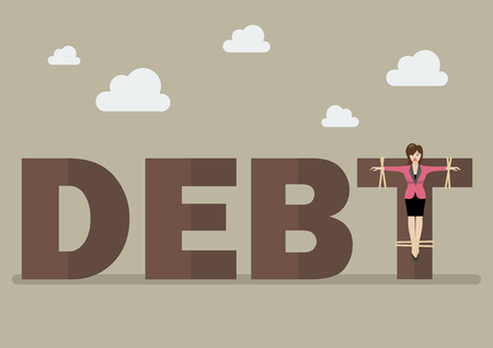 crucified: Business woman crucified on debt. Business concept Illustration