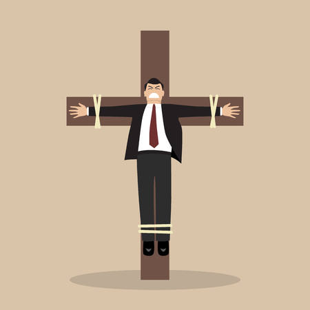 crucified: Crucified business man. Business concept Illustration