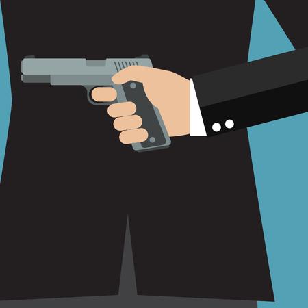 Empresario sosteniendo una pistola a la espalda. Concepto de negocio