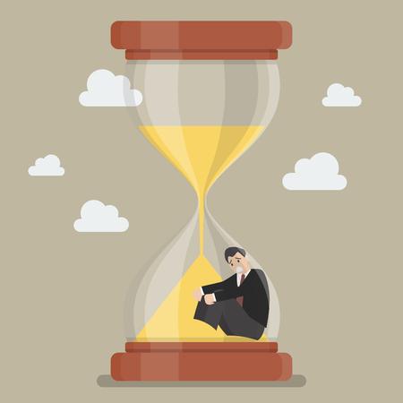 sand trap: Businessman stuck in sandglass. Business deadline concept Illustration