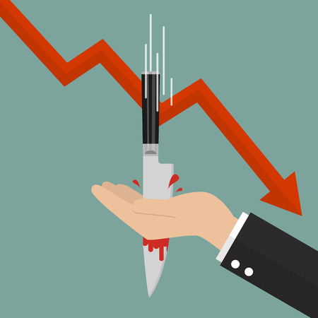 Knife stabbing into hand with graph down. Stock market concept