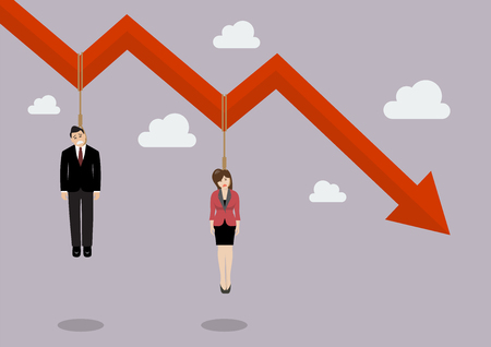 Business people hang on a graph down. Business concept