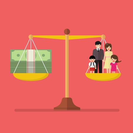 Work and Family balance on the scale. Business Concept