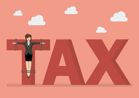 crucified: Business woman crucified on tax word. Business concept