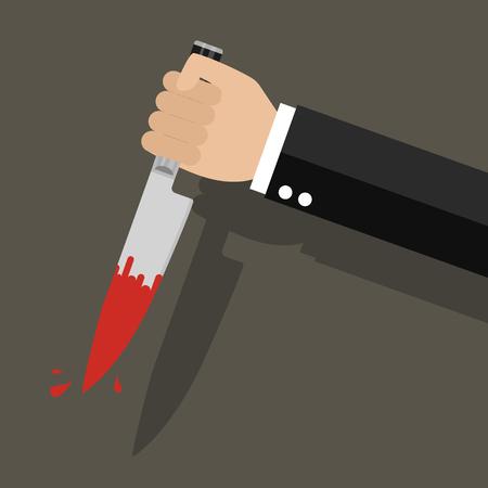 Businessman holding a knife in hand. Vector illustration Иллюстрация