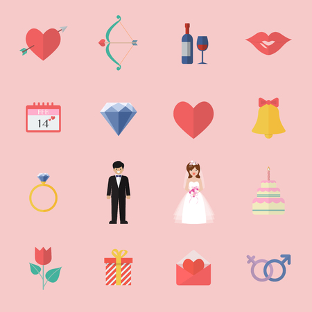 Valentines Day Icon Set. Vector illustration