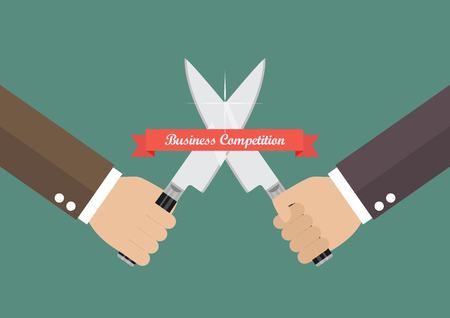 Business hand fighting with knives. Business competition concept