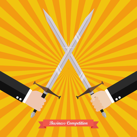 Businessman fighting with swords. Business competition concept