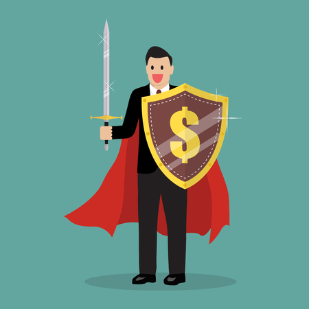 traders: Businessman with shield and sword. Vector Illustration Illustration