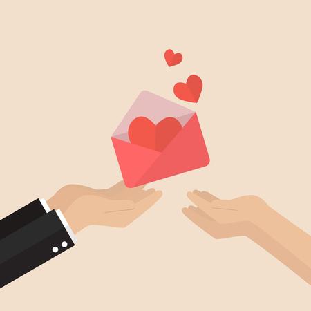Man gibt Liebesbrief an eine Frau. Vektor-Illustration