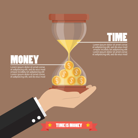 accumulation: Time is money infographic. Money in sandglass