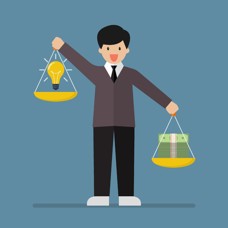 Businessman balancing idea and money on two weighing trays on both hands. Vector illustration