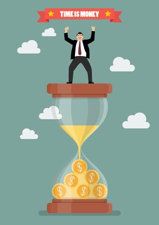 profit celebration: Businessman celebrating on a sandglass. Time is money Illustration