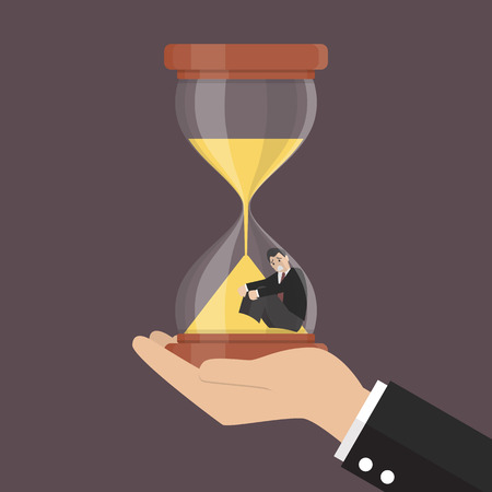sand trap: Small businessman stuck in sandglass. Business concept Illustration