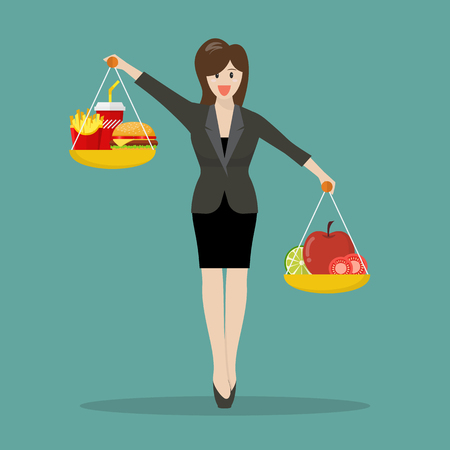 Business woman balancing junk food and healthy food on two weighing trays on both hands. Healthy lifestyle