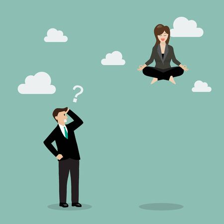 competitor: Business woman meditating over his competitor. Business concept