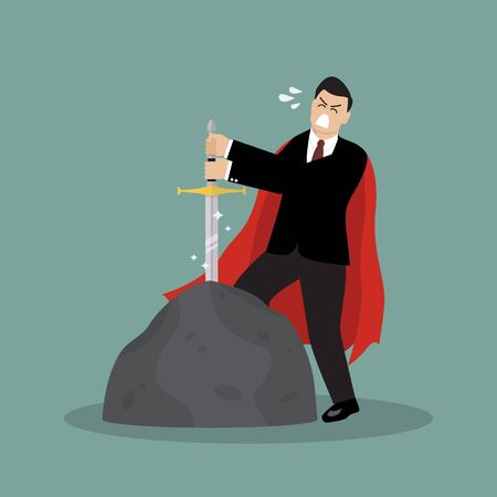 busness: Businessman try to pull sword from stone. Busness concept