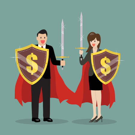 conquering: Business man and woman with shield and sword. Vector Illustration