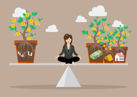 allocation: Business woman rebalancing portfolio asset allocation. Business concept