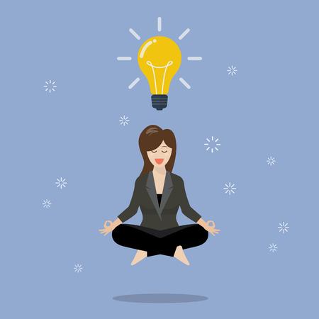 Businessman thinking during meditation. Vector illustration Illustration