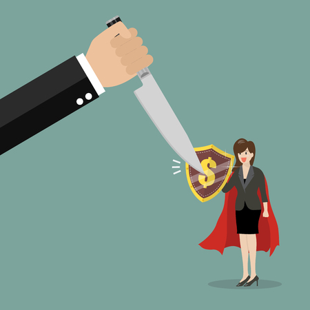 venganza: Business woman with shield protecting from graph down. Business concept