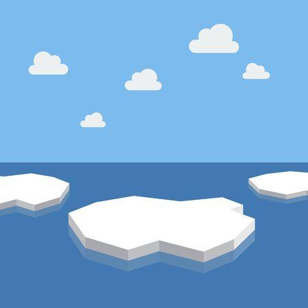 IJsschotsen in de zee. vectorillustratie