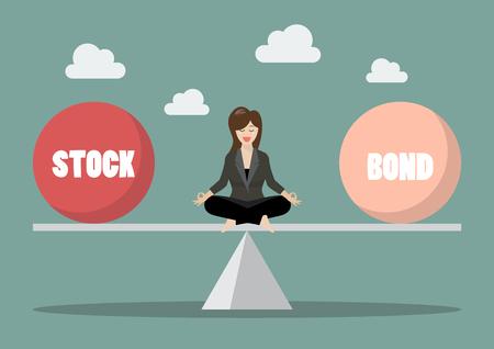 Business woman rebalancing portfolio between stock and bond