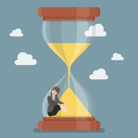sand trap: Business woman stuck in sandglass. Business deadline concept