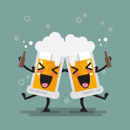 Two drunk beer glasses character. Vector illustration Illustration