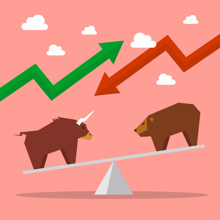 traders: Bull and bear on balance scale. Symbol of stock market
