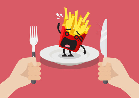 impatient: Man prepare to eat scared french fries illustration