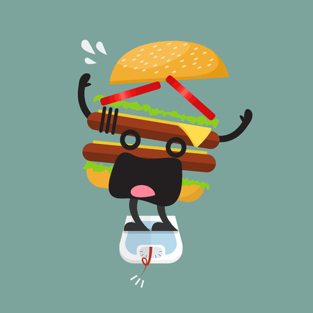 Overweight burger character on weight scale - healthy concept