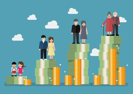 People generations with retirement money plan illustration
