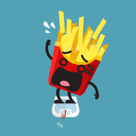 Overweight french fries character on weight scale. Healthy concept