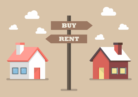 rent: Property buy and rent signs. Vector illustration