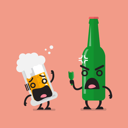 Angry beer bottle with glass of beer character. Funny cartoon emoticons Illustration