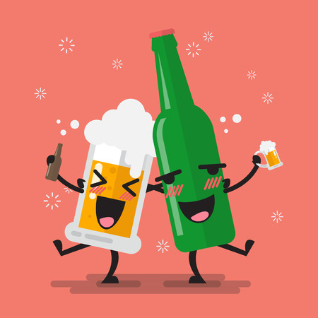 Drunk beer glass and bottle character. Vector illustration